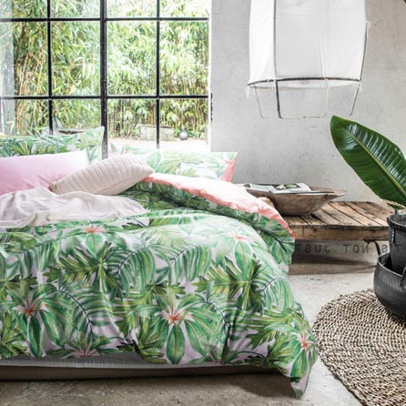 Wake In Cloud Botanical Duvet Cover Set Sateen Cotton Bedding Tropical Green Plant Tree Leaves Pattern Printed Green Bedding Green Bedding Set Bedding Sets