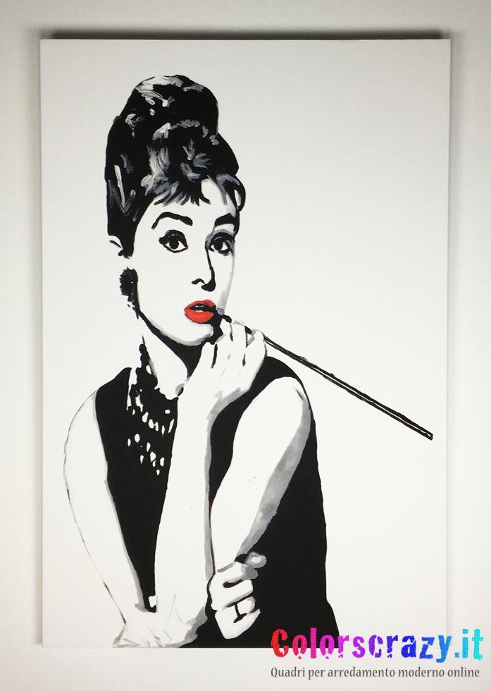 Quadro moderno Audrey Hepburn 80 x 120 cm. Dipinto su tela - Pronto da Appendere. Acquista online su www.colorscrazy.it