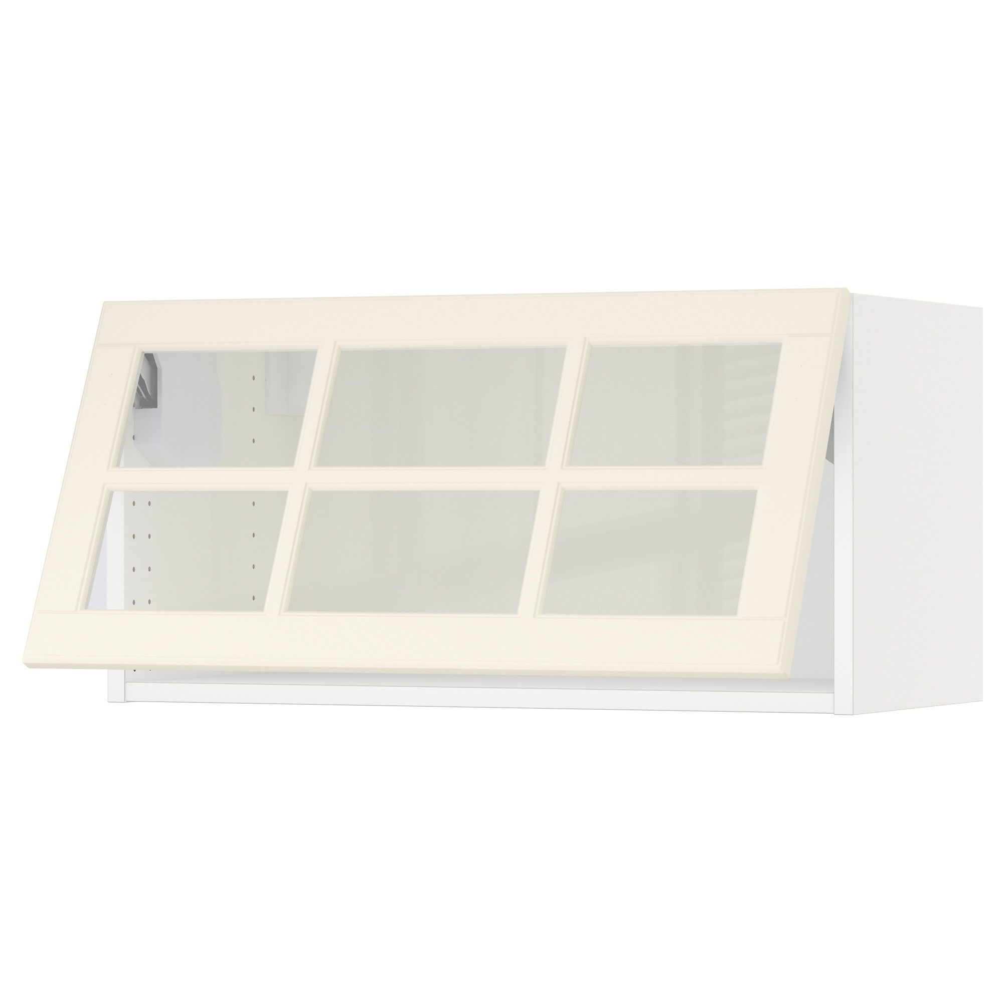 Sektion Horizontal Wall Cabinet Glass Door White Bodbyn Off White Ikea In 2020 Wall Cabinet Glass Door Glass Cabinet Doors