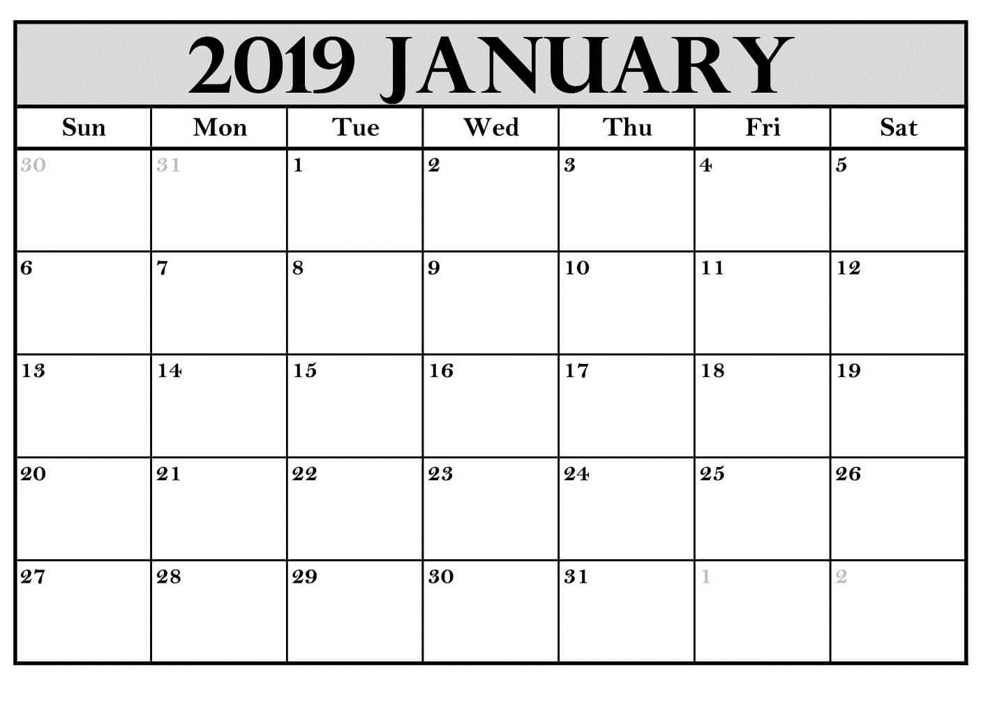 Printable January 2019 Calendar Australia Calendar Printables