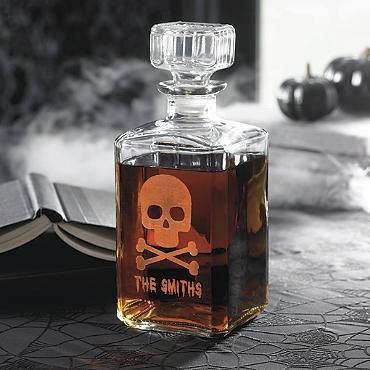 personalized skull and crossbones decanter - Personalized Halloween Decorations