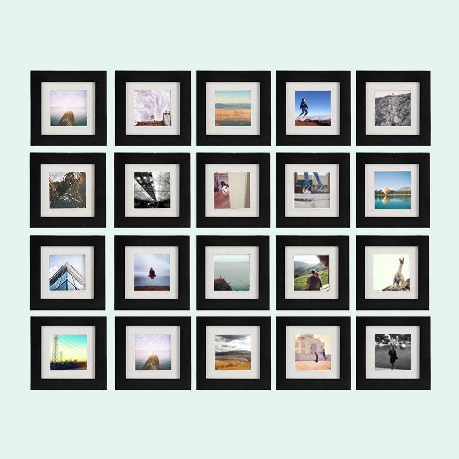 20 Pack Black 6x6 Photo Frame 4x4 Matted Frames On Wall