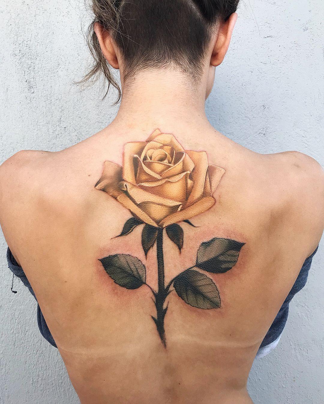 Beautiful Yellow Rose Tattoo On Back C Tattoo Artist Pony Wave Yellow Rose Tattoos Rose Tattoo Design Rose Tattoos For Women