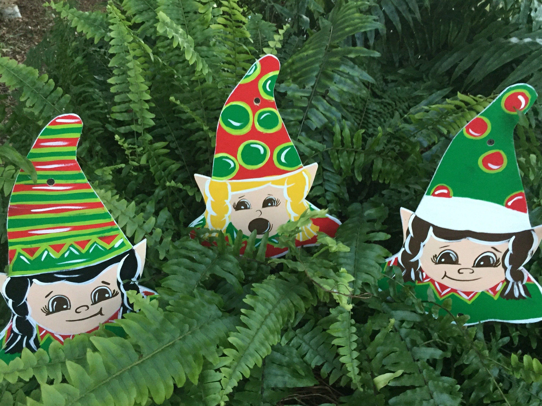 Wood outdoor yard art Christmas elves - garden stakes ...