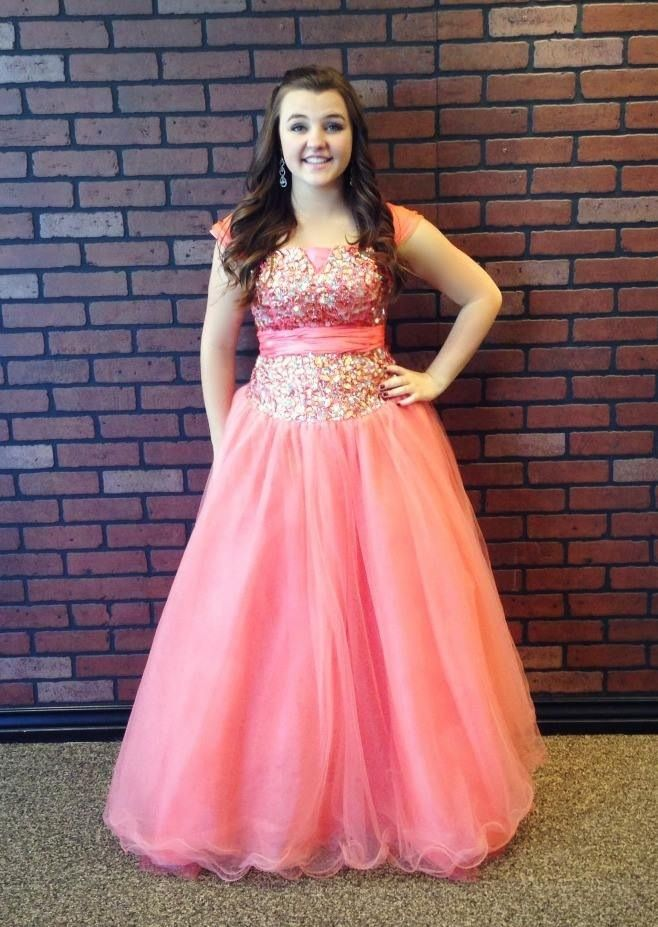 Coral big Bling It On Dress Rentals modest poofy ball gown prom ...