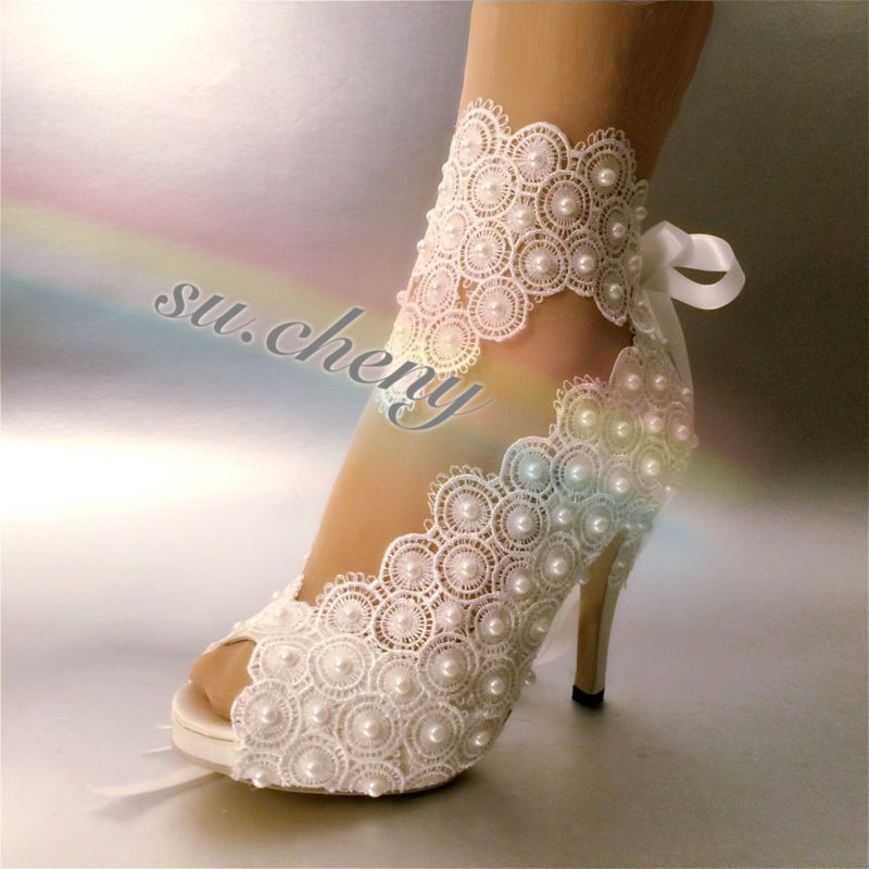 45710bf86b9 Su cheny 3 4 heel satin white ivory lace pearls open toe wedding ...