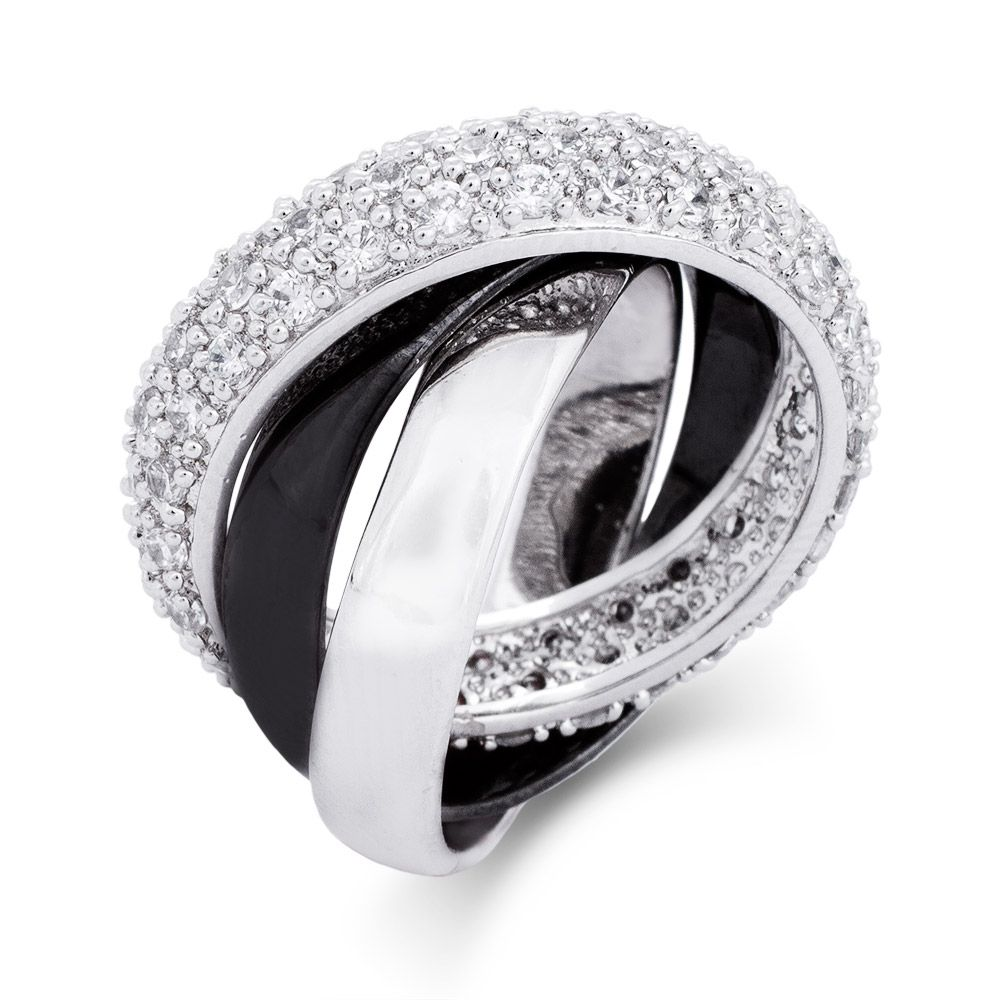 triple band wedding ring This Black and Silver Triple Roll Russian Wedding Ring brings a new edge to this popular