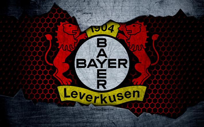 Lataa kuva Bayer Leverkusen, 4k, logo, Bundesliiga, metalli rakenne, jalkapallo, Bayer On 04 Leverkusen, Bayer 04: n