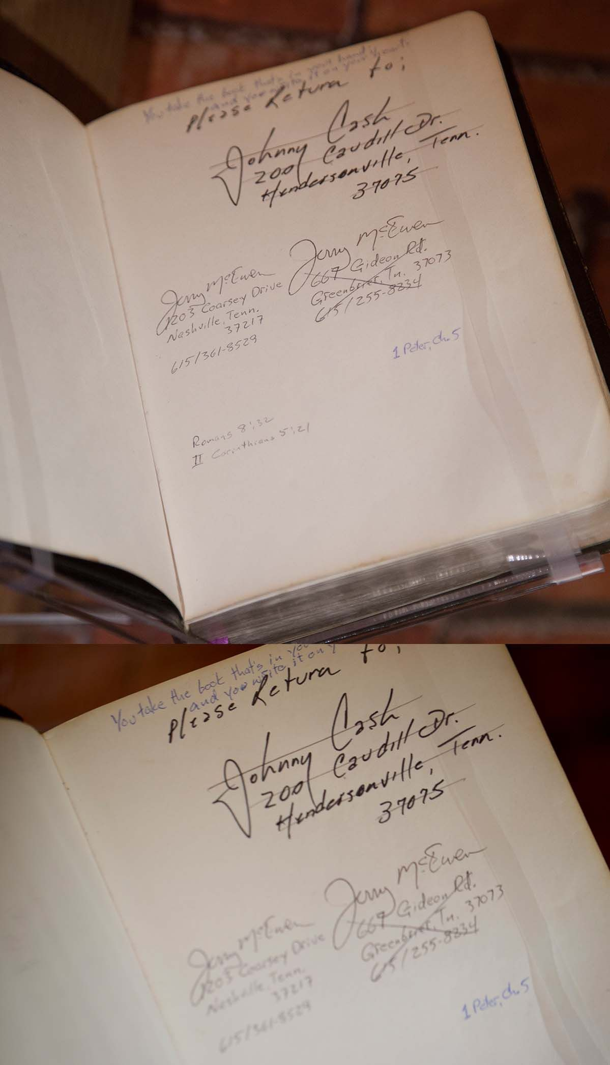Johnny cashs bible on display in the battle hymn room at