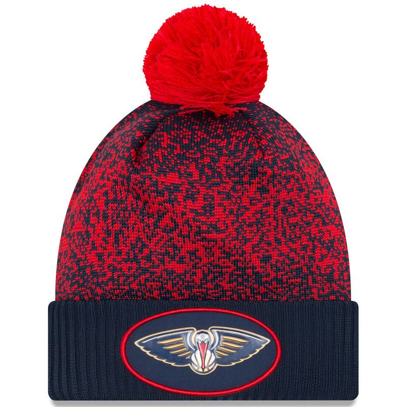 the best attitude 9ffce dbc25 New Orleans Pelicans New Era On-Court Cuffed Knit Hat with Pom - Navy