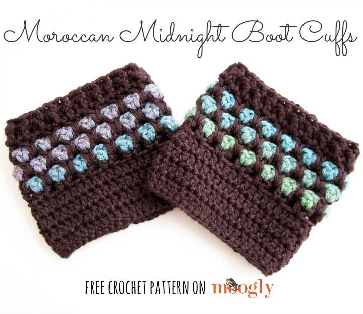 Moroccan Midnight Boot Cuffs - FREE crochet pattern on Moogly ...