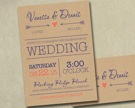 Blue And Coral Wedding Invitations: NAVY AND CORAL/PEACH Wedding Invitation Invitations Invite