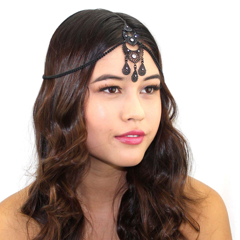 Black Crystal Grecian Chain Headpiece Headband Tikka by ...