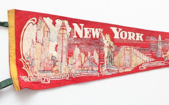 Vintage New York City Skyline Souvenir Felt Pennant