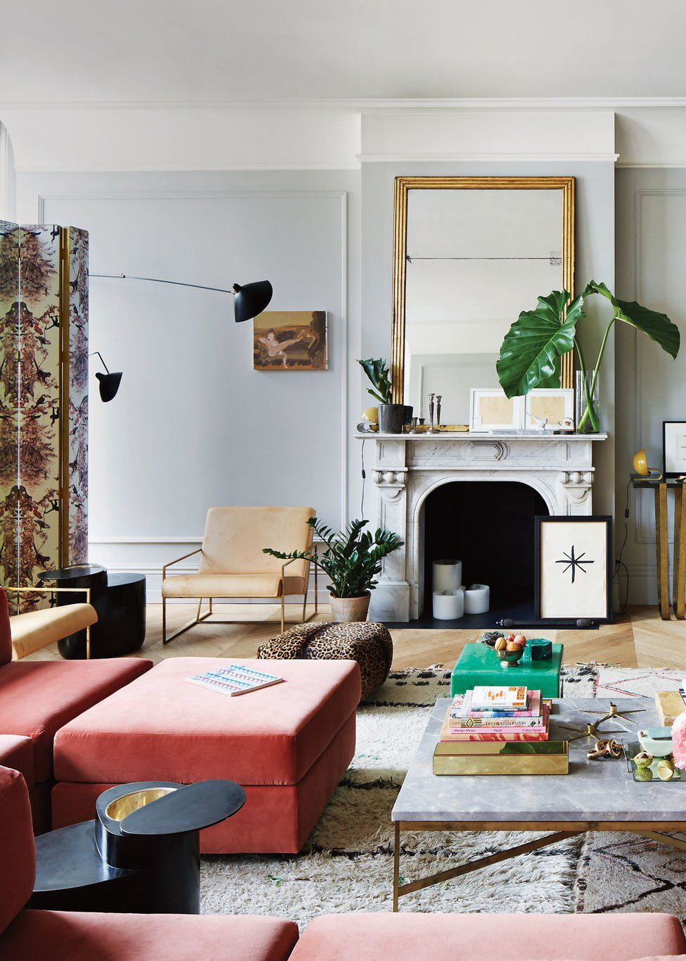Pink Velvet Modular Sofa In A Classic Living Room | Jenna Lyons House Tour  On Coco