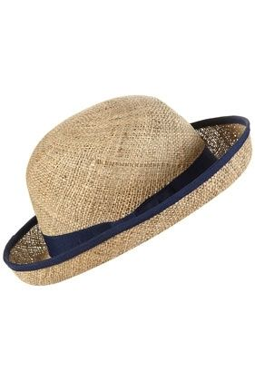 Navy Trim Small Curved Straw Boater - Hats - Accessories - Topshop -  StyleSays c73af4e73b0