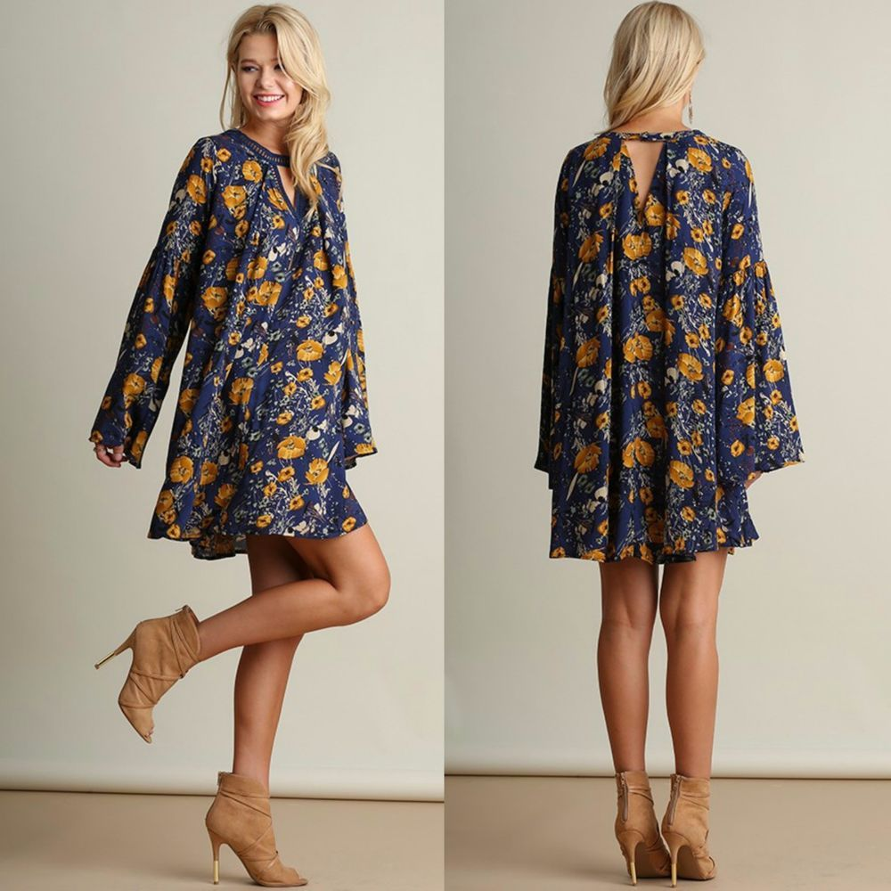 8cae4c0259ea6 Umgee Boho FLOWY Navy Floral Print Bell Sleeve Keyhole Swing Dress  w/Crochet S-L | Clothing, Shoes & Accessories, Women's Clothing, Dresses |  eBay!