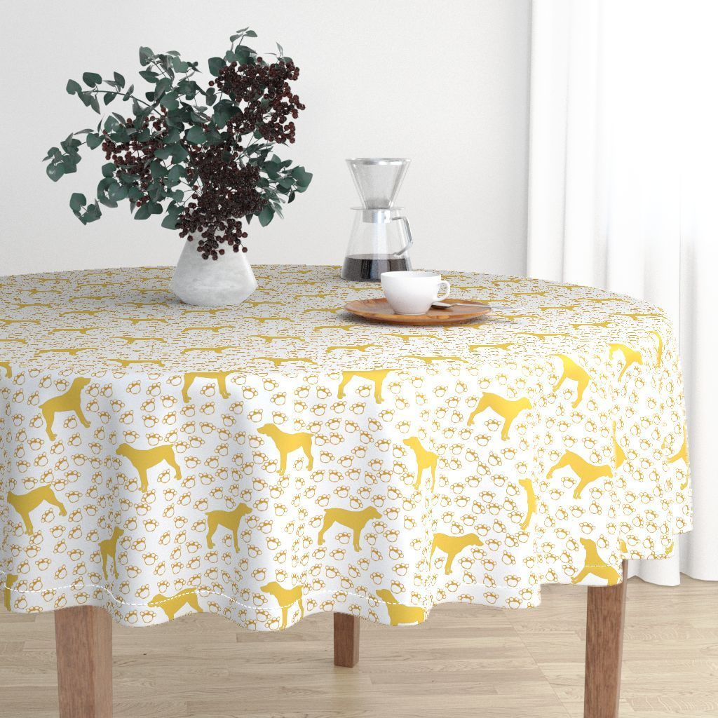 Big Yellow Dog And Paw Prints On Malay By Paper And Frill Roostery Home Decor Round Tablecloth Home Decor Table Linens