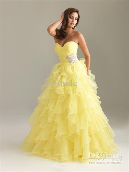 Yellow Organza Sweetheart Prom Dress. US $158.99. Free Shipping.