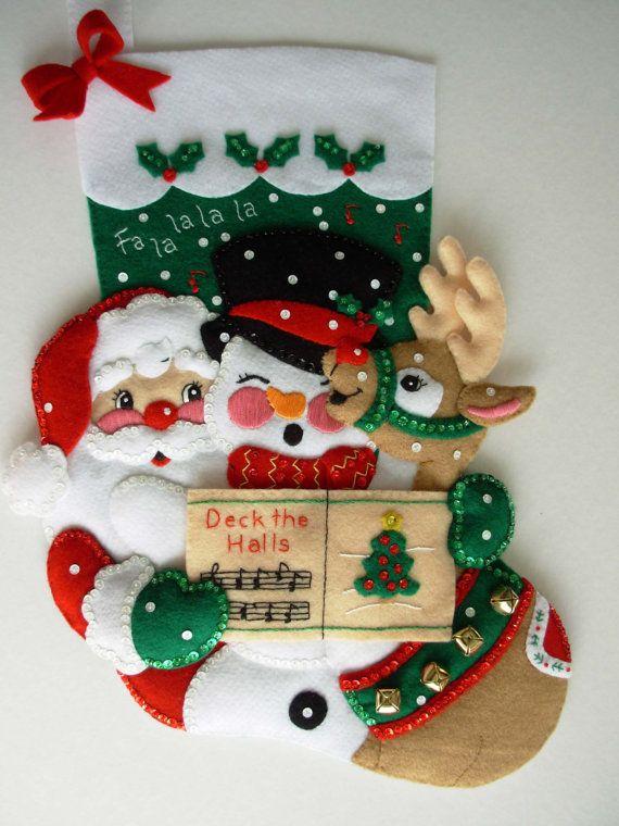 Finished Christmas Stocking - Caroling Trio | Pinterest | Botas ...