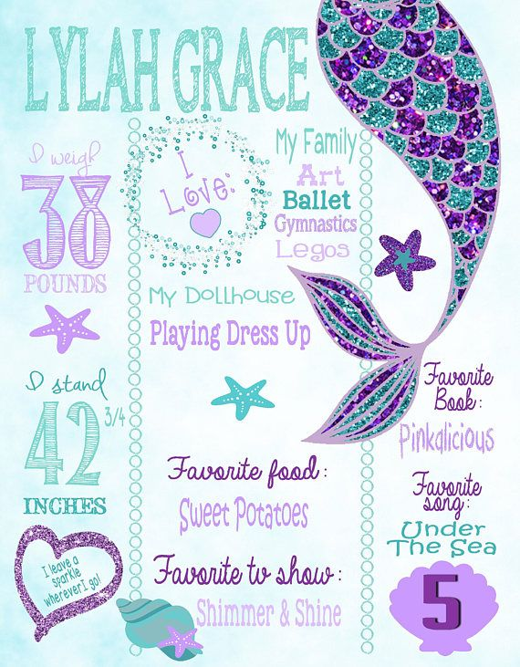 Mermaid Birthday Chalkboard, Mermaid Party, Mermaid Birthday Party, Mermaid Party Decorations
