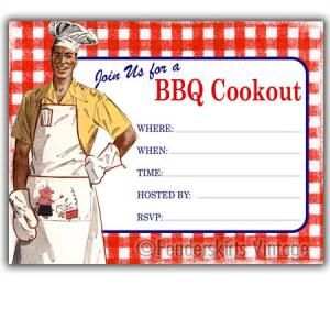 cookout clip art | 1950s Retro BBQ Cookout Party Invitations ...
