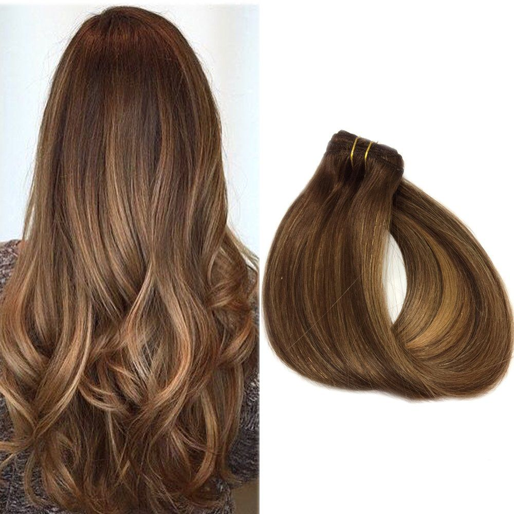 Human Hair Extensions Clip In 16 Inch Brown Highlighted With Blonde