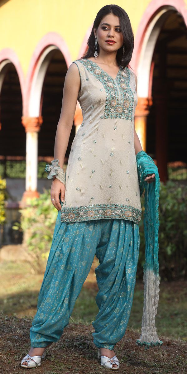 Patiala shalwar kameez with intricate resham embroidery thread work ... http://HaveHeartDaily.com