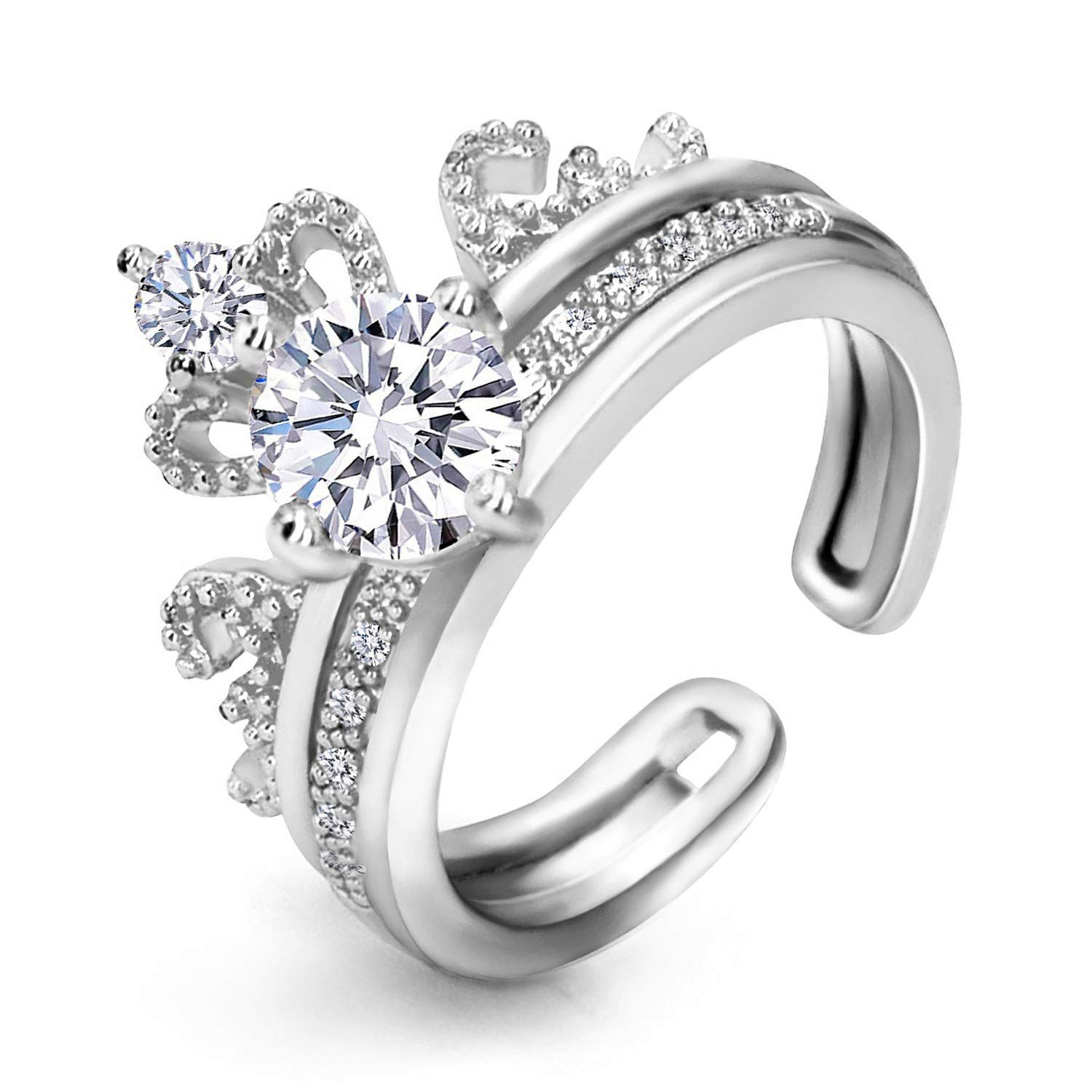 LicLiz Adjustable Crown Ring Set, Solitaire Engagement