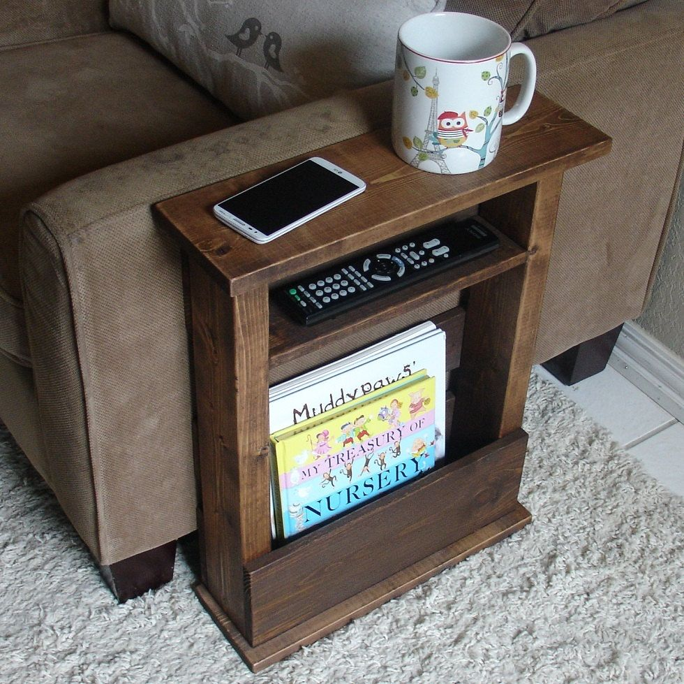 Marvelous Sofa Chair Arm Rest Table Stand With Shelf And Storage By KeoDecor