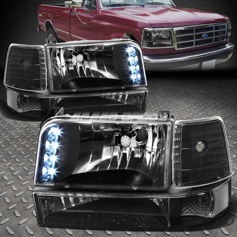 Black Led Drl Headlight Bumper Clear Corner For 92 96 Ford F150 F250 F350 Bronco Ebay Motors Parts Accessories Car Tr Ford F150 F150 Ford F150 Interior