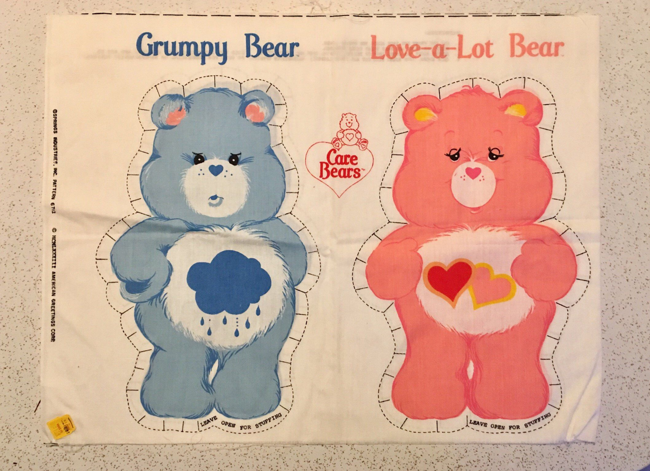 Vintage Care Bears Sew And Stuff American Greetings Fabric Panel