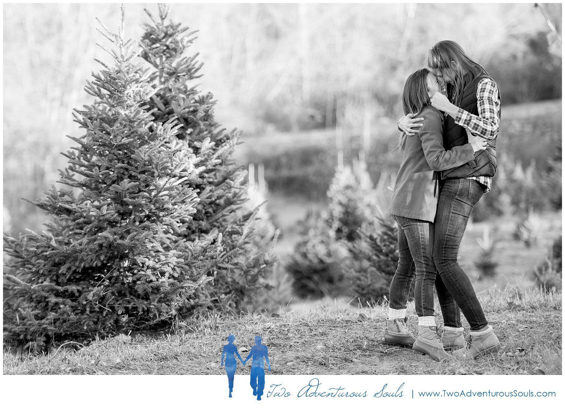Meghan and Rachel's Christmas Tree Farm Engagement Maine