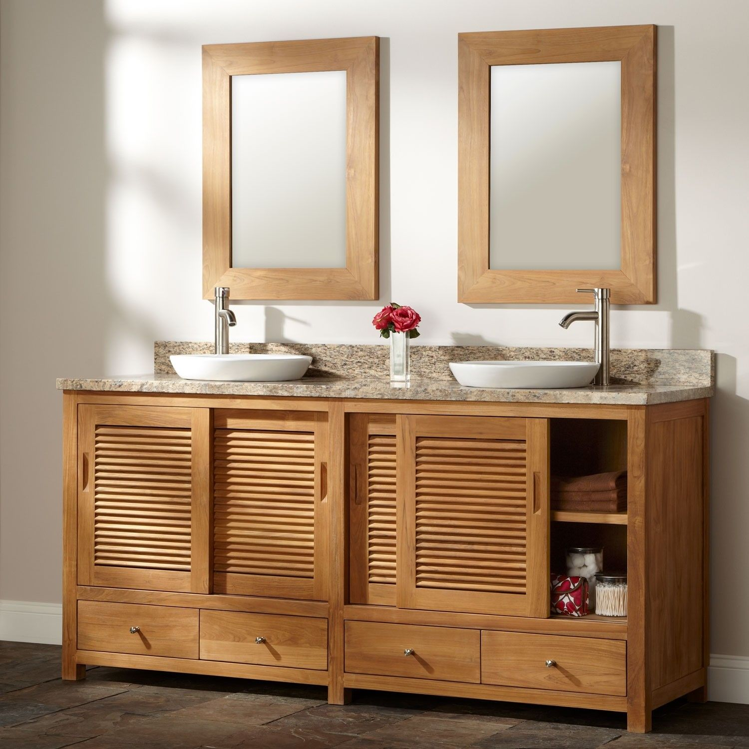 72 Arrey Teak Double Vanity For Semi Recessed Sinks Natural Teak Bathroom Vanity Vanity Modern Bathroom Vanity