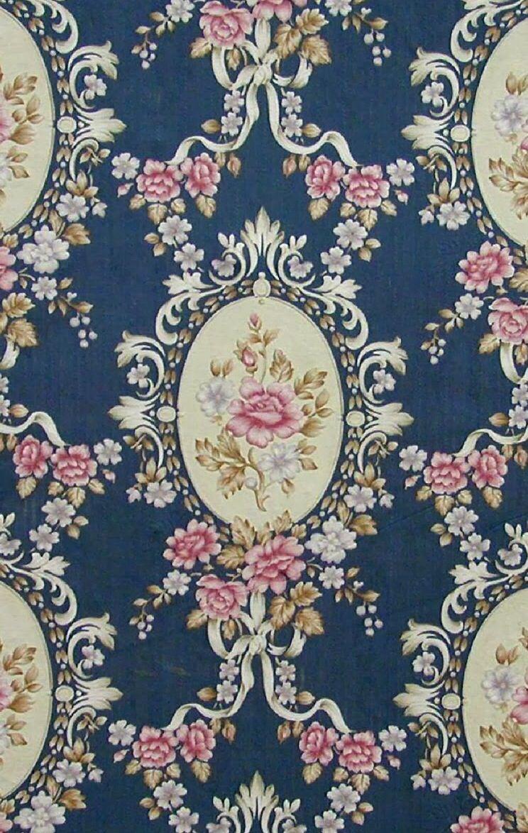 Blue Floral Vintage Wallpaper Vintage Blue Floral Wa...