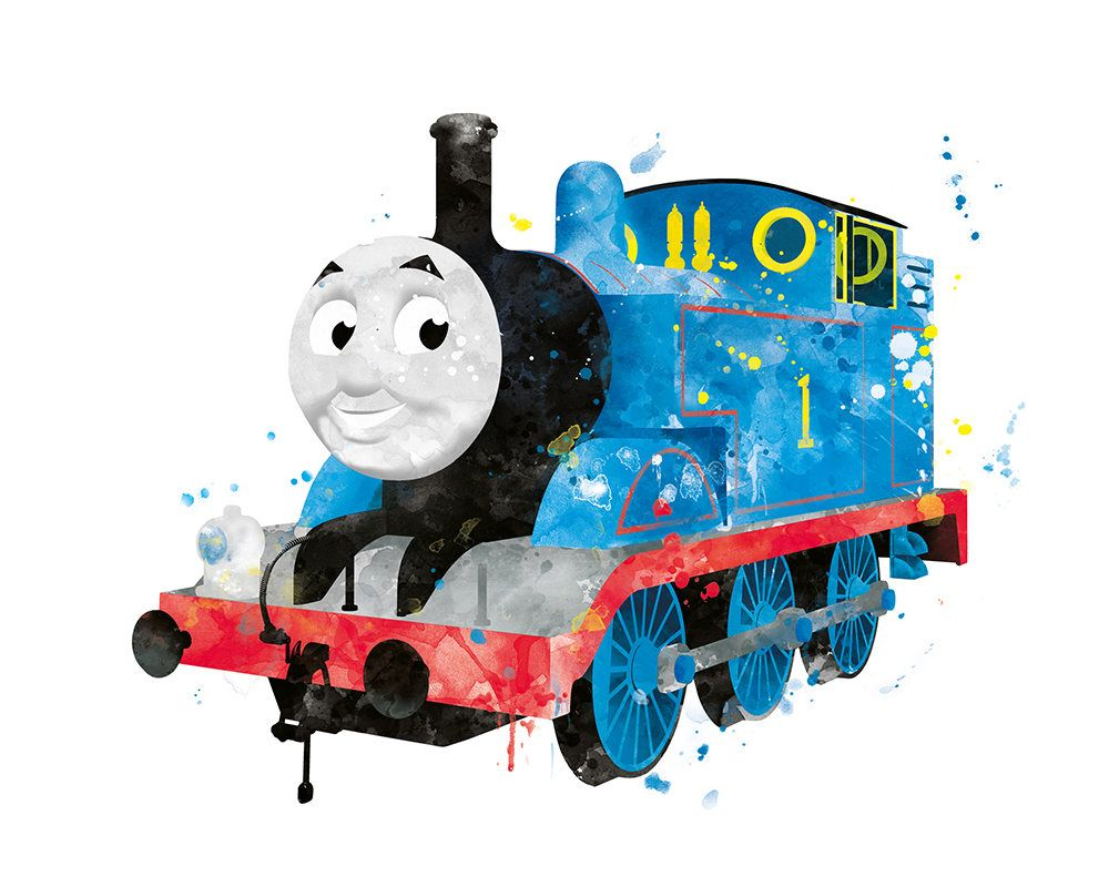 Thomas The Train Thomas Art Print Watercolor Train Party