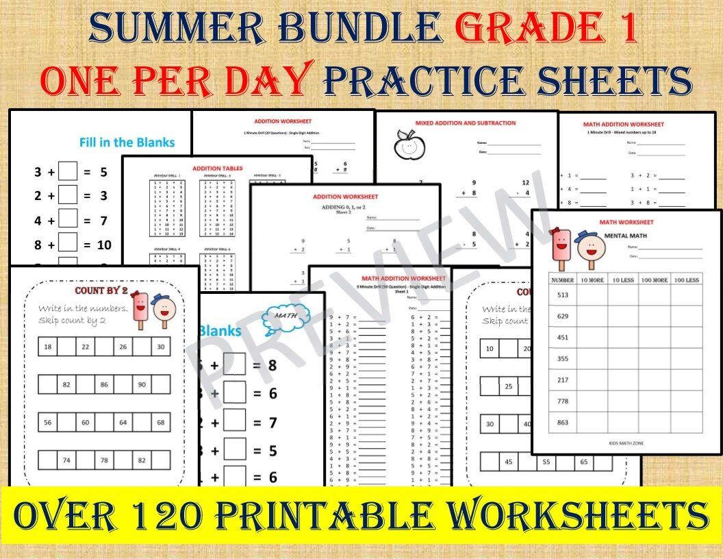 GRADE 1 SUMMER BUNDLE one per day (over 120 math