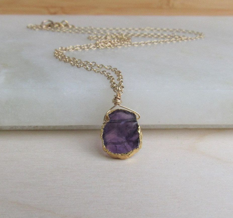 Amethyst Necklace Bridesmaid Gift Dainty Necklace Raw Stone Druzy Necklace Anniversary Gift Crystal Gemstone Necklace Birthday Gift