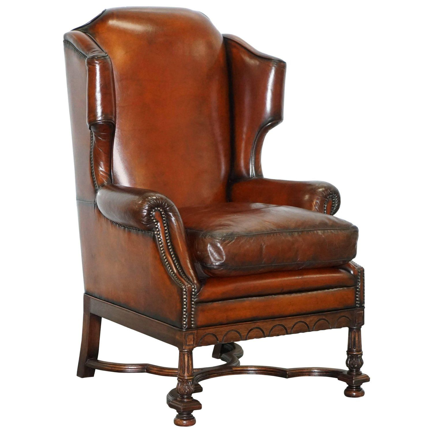 Rare William And Mary Style Antique Victorian Wingback Brown