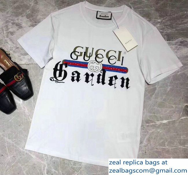 eb23ada742cb Gucci T-shirt Garden White 2018 | Luxury Clothes | Shirts, T shirt ...