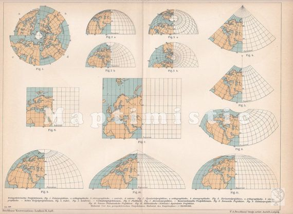 Review of map projections, 1899 #map #world #cartography #projections