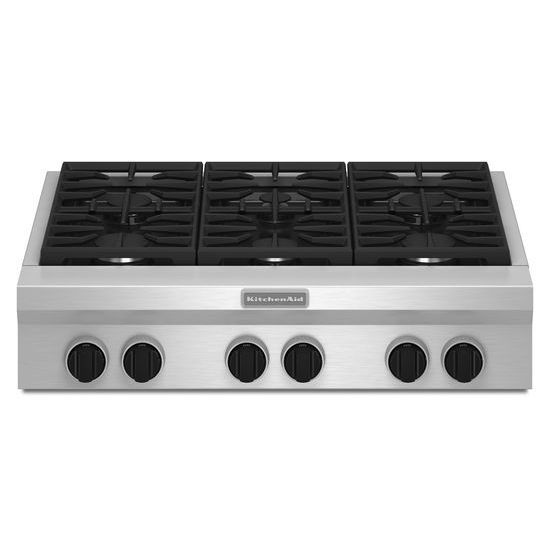 Kitchen Aid 36 Inch 6 Burner Gas Range Top Commercial Style 3247 90 Hst At Canadian Appliance Source Gas Cooktop Stainless Steel Cooktop Kitchen Aid