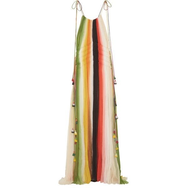 Chloé Tasseled striped silk-crepon gown (16.105.535 COP) ❤ liked on Polyvore featuring dresses, gowns, gown, orange, colorful ball gowns, silk ball gown, tassel dress, silk gown and colorful dresses