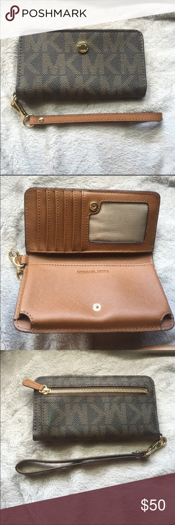 Michael Kors Tech Wallet Excellent condition! Carried in purse. Michael Kors Bags Clutches & Wristlets
