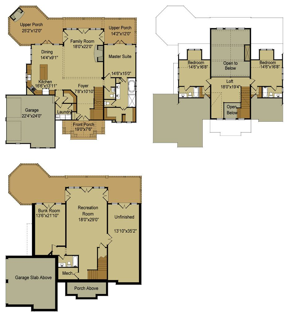 Rustic mountain house floor plan with walkout basement for Rustic home plans with loft