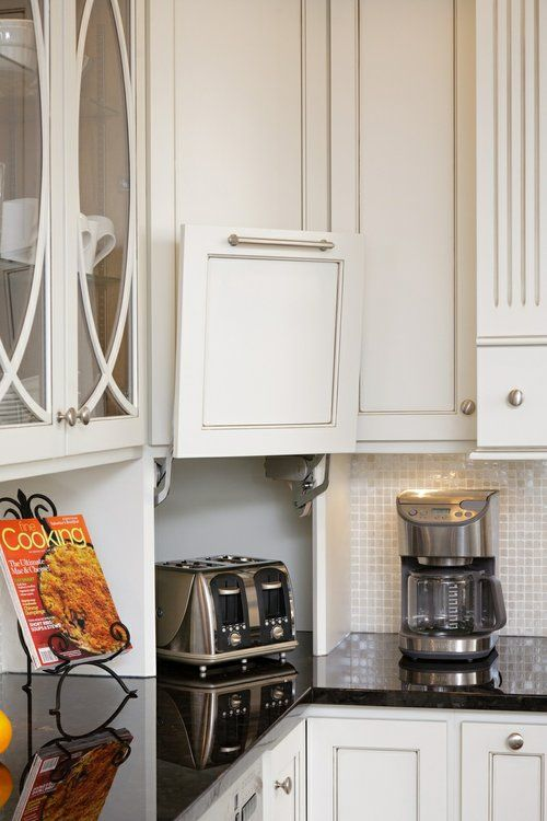 Pull Up Doors On Kitchen Counter With Space Behind For Appliances
