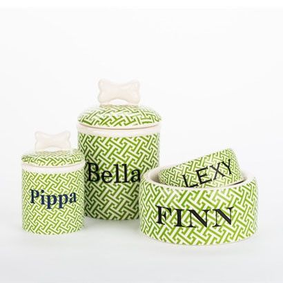 Personalized Trellis Bowls & Treat Jars Collection* - BD Luxe Dogs & Supplies - 1