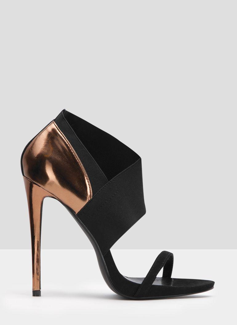 Czarno Zlote Szpilki Z Elastycznymi Wstawkami Stella W Deezee Pl Heels Shoes Peep Toe