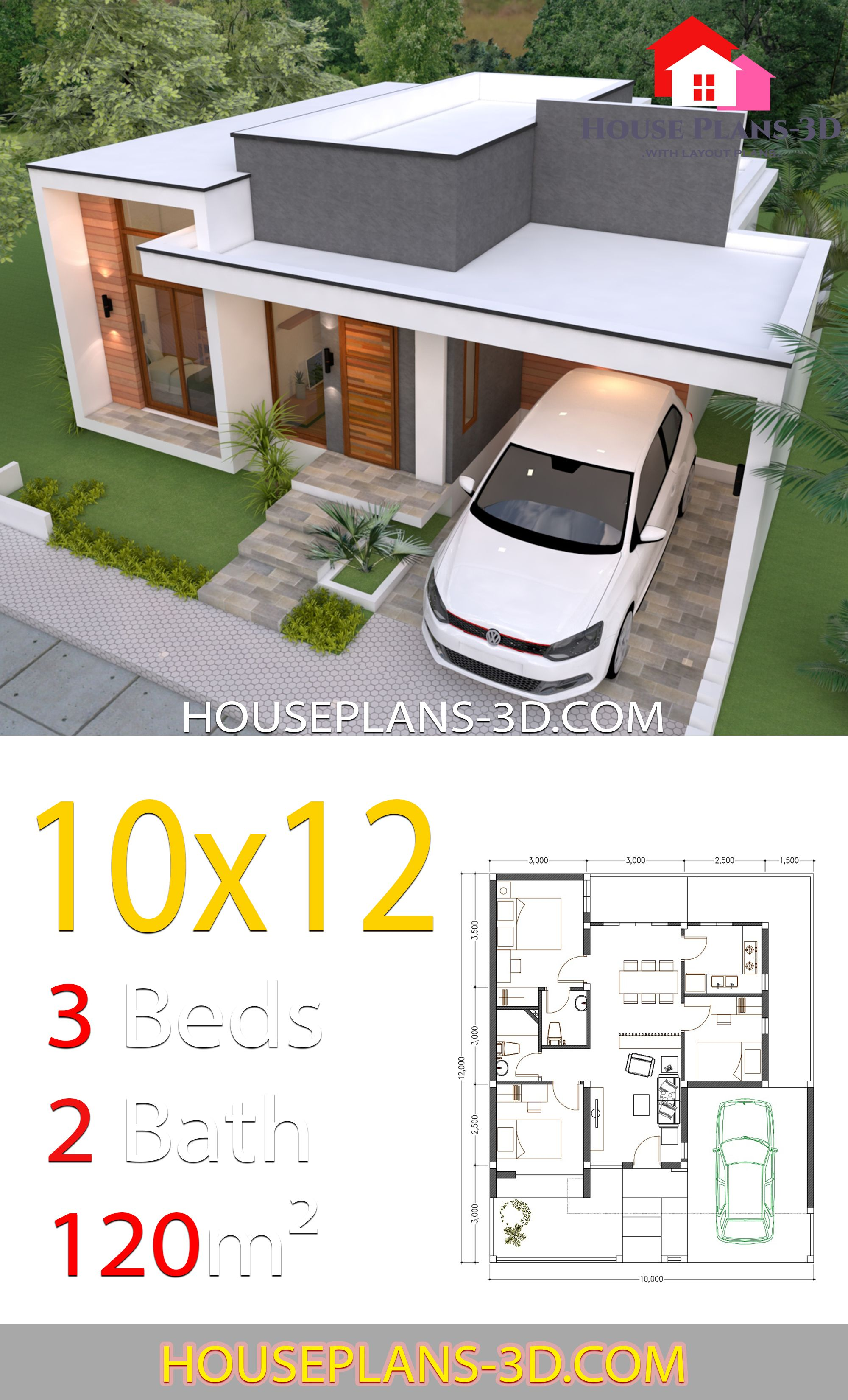 House Design 10x12 With 3 Bedrooms Terrace Roof House Plans 3d In 2020 House Plans Modern House Plans House Construction Plan