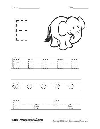 Letter E Handwriting Worksheet | Alphabet Printables | Pinterest ...
